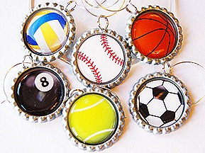 Sports themed wine charm