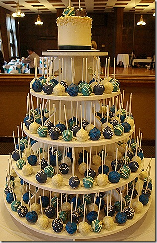 peacock colors cake pops