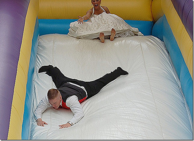 bounce house slide - groom first