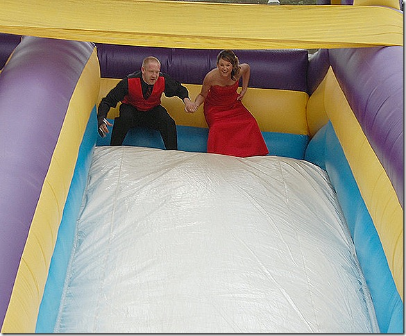 bounce house slide - wedding party